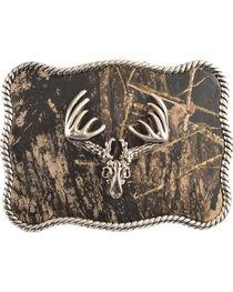Nocona Mossy Oak Deer Skull Buckle, , hi-res