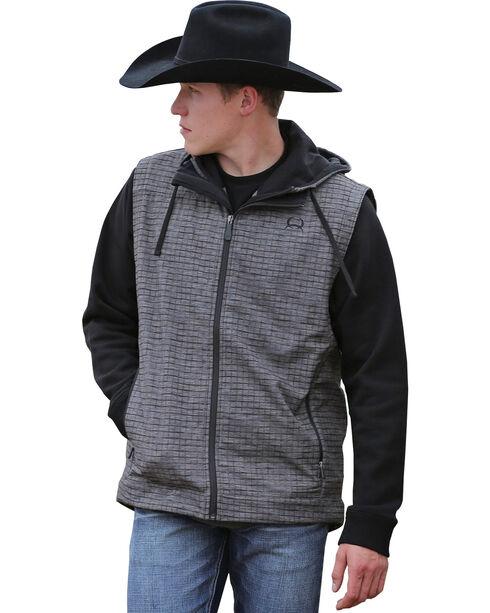 Cinch Men's Bonded Check Patterned Vest, Grey, hi-res