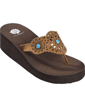 Yellow Box Women's Huntley Laser Cut Embellished Sandals, Chestnut, hi-res