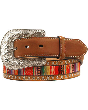 Nocona Aztec Ribbon Inaly Belt, Med Brown, hi-res