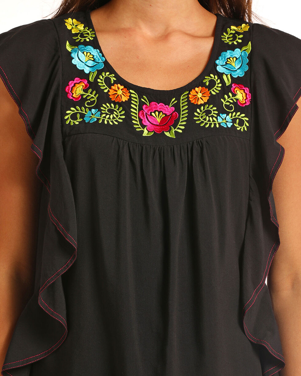 Panhandle Sleeveless Flounce Tank with Floral Embroidery, Black, hi-res