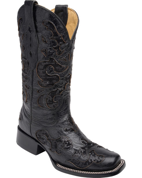 Corral Women's Sequin Inlay Western Boots, Black, hi-res