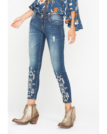 Miss Me Women's Indigo Embroidered Ankle Jeans - Skinny , , hi-res