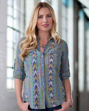 Ryan Michael Women's Ikat Stripe Shirt, Navy, hi-res