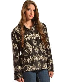 Jane Ashley Aztec Print Button-Up Fleece Jacket, Black, hi-res