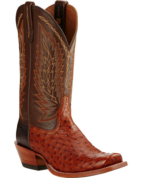 Ariat Men's Full Quill Ostrich Exotic Boots, Brandy, hi-res