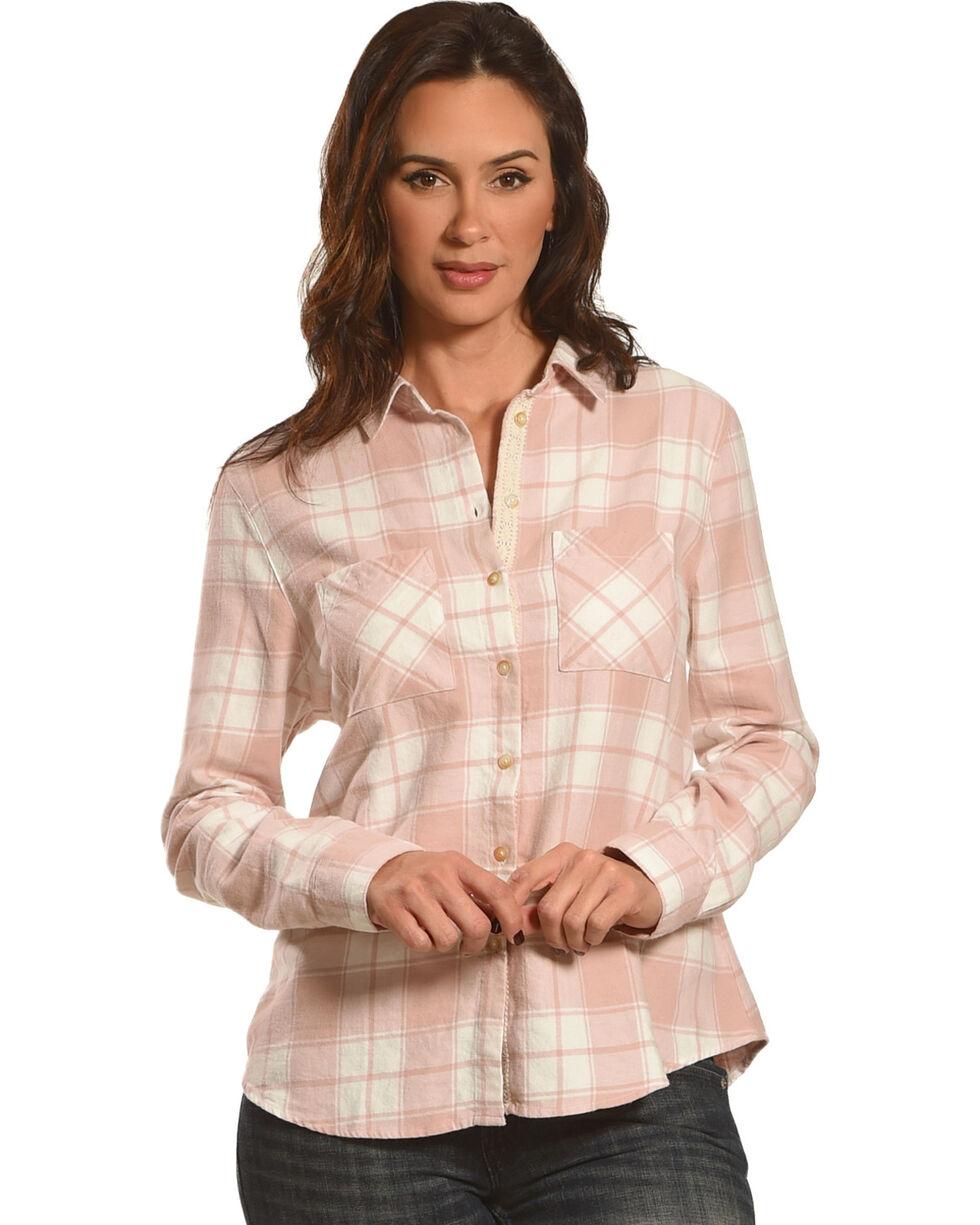 Shyanne Women's Blush Lace Placket Flannel Shirt, , hi-res