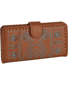 Shyanne® Women's Lasercut Wallet , Brown, hi-res