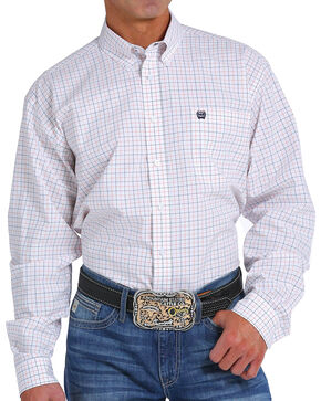 Cinch Men's White Long Sleeve Western Plaid Shirt , White, hi-res