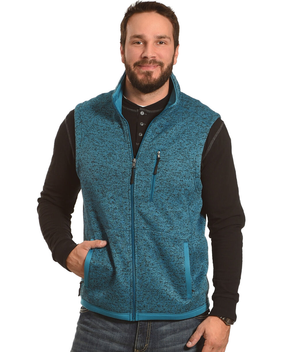 Powder River Outfitters Men's Blue Sweater Fleece Vest, Blue, hi-res