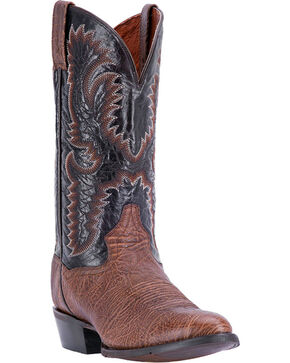 Dan Post Men's Moses Round Toe Western Boots, Chocolate, hi-res
