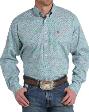 Cinch Men's Light Blue Paisley Long Sleeve Button Down Shirt, Light Blue, hi-res