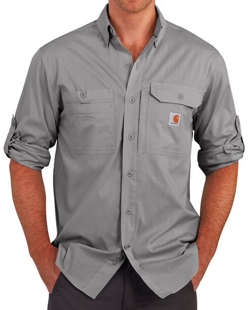 Carhartt Men's Charcoal Grey Force Ridgefield Solid Long-Sleeve Shirt, Charcoal Grey, hi-res