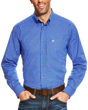 Ariat Men's Barado Pro Series Fitted Long Sleeve Shirt, Blue, hi-res