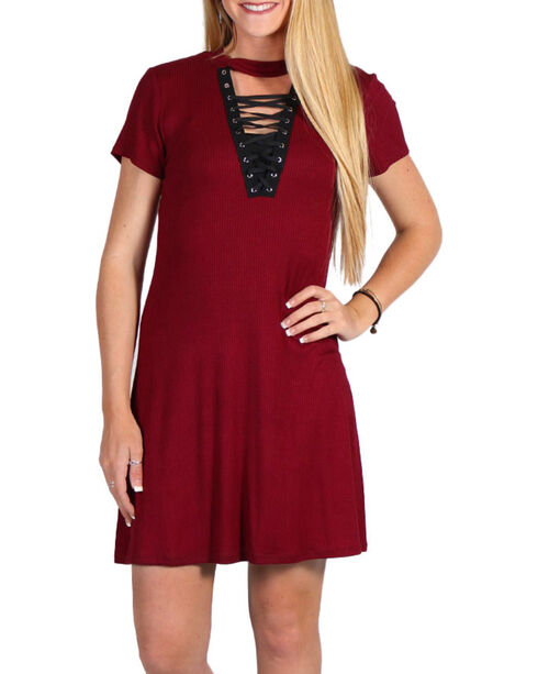 Luna Chix Women's Lace-Up Dress, Burgundy, hi-res