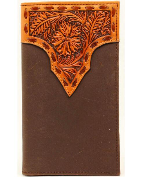 Nocona Stitched Floral Rodeo Wallet, Tan, hi-res