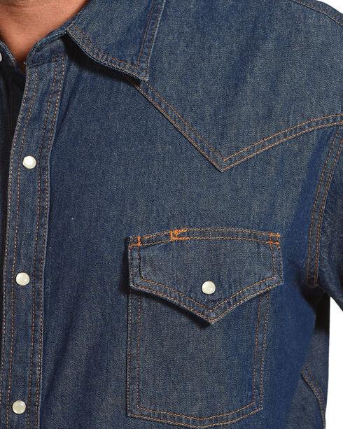 Ely Cattleman Men's Solid Denim Long Sleeve Shirt , Medium Blue, hi-res