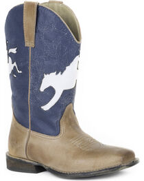 Roper Boys' Tan Bronco Rider Boots - Square Toe , , hi-res
