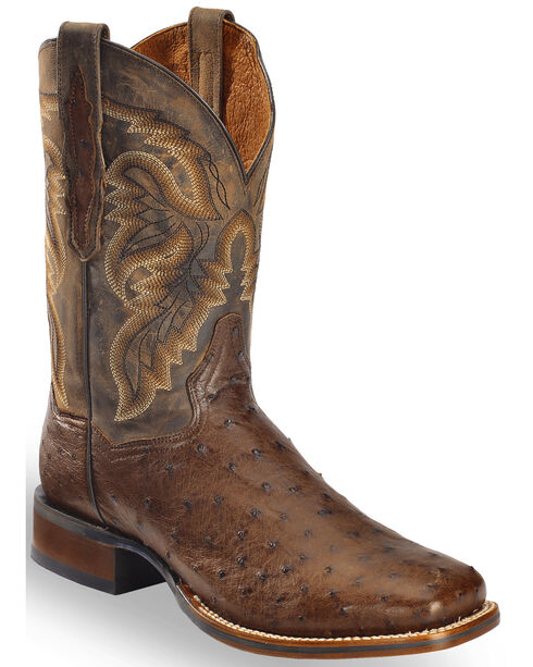 Dan Post Men's Alamosa Exotic Ostrich Cowboy Certified Boots, Chocolate, hi-res