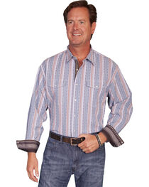 Scully Men's Signature Striped Long Sleeve Western Shirt, , hi-res