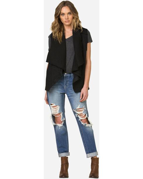 Miss Me Women's Black Side Print Vest , Black, hi-res