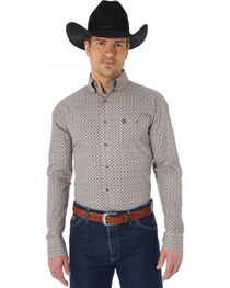 Wrangler George Strait Chestnut and Red Print Western Shirt, , hi-res
