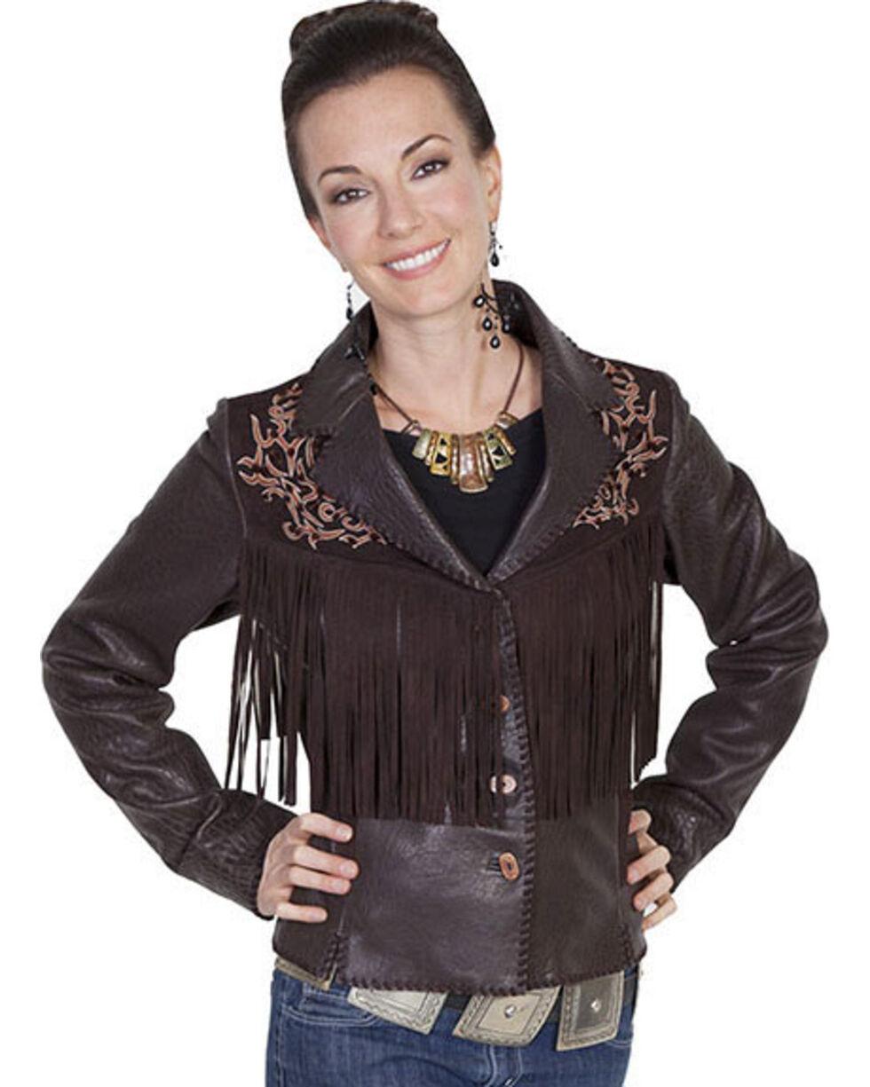 Scully Leatherwear Rugged Lamb Fringe Jacket , Dark Brown, hi-res