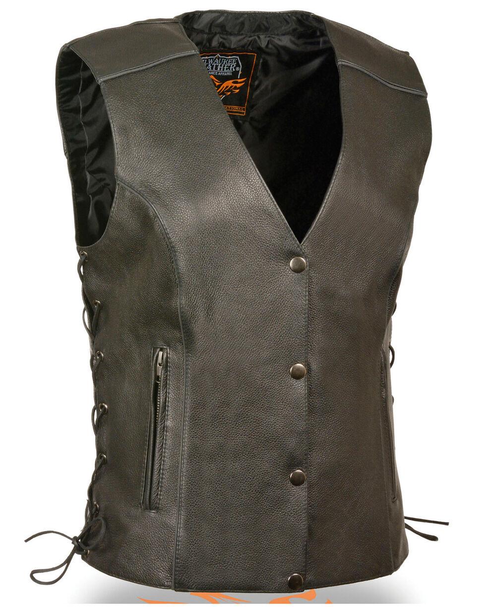 Milwaukee Leather Women's Black Side Lace Conceal Carry Vest , Black, hi-res