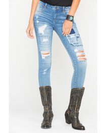 MM Vintage Women's Destroyed and Patched Jeans - Skinny , , hi-res