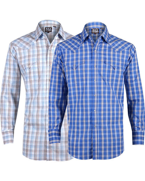 Ely Cattleman Men's Assorted Premium Cotton Plaid Long Sleeve Western Shirt, Multi, hi-res