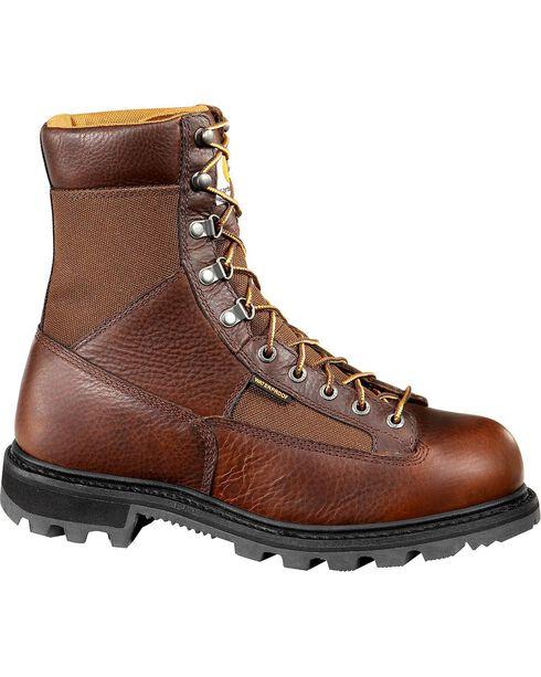 "Carhartt 8"" Brown Leather Low Heel Waterproof Logger Boots - Steel Toe , Camel, hi-res"