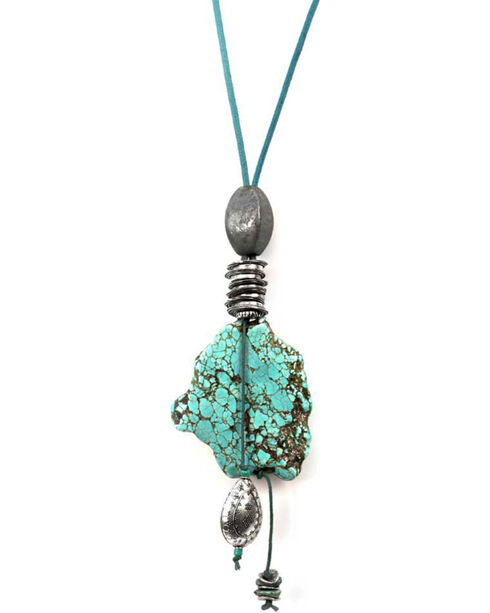 Treska Turquoise Long Pendant on Cord Necklace, Turquoise, hi-res