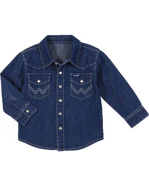 Wrangler Toddler Boys' Long Sleeve Denim Western Shirt, Indigo, hi-res