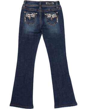 Shyanne® Girls' Floral Embroidered Boot Cut Jeans, Blue, hi-res