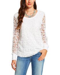 Ariat Women's White Crochet Dixie Sweatshirt , , hi-res