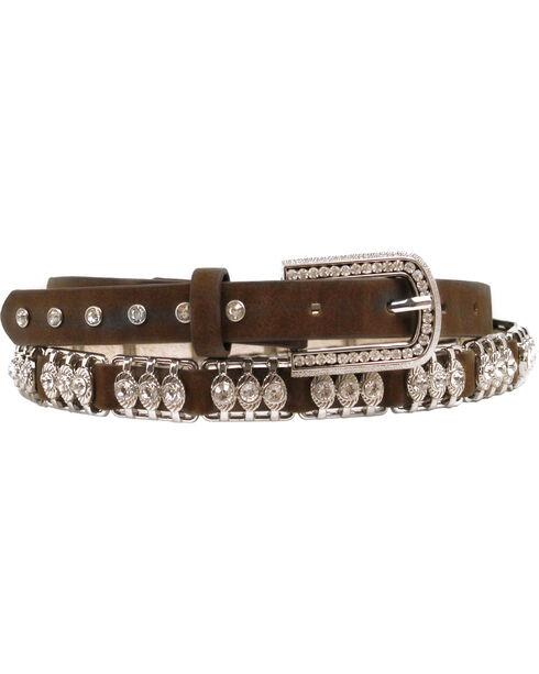 Nocona Metal Bar Crystal Belt, Med Brown, hi-res