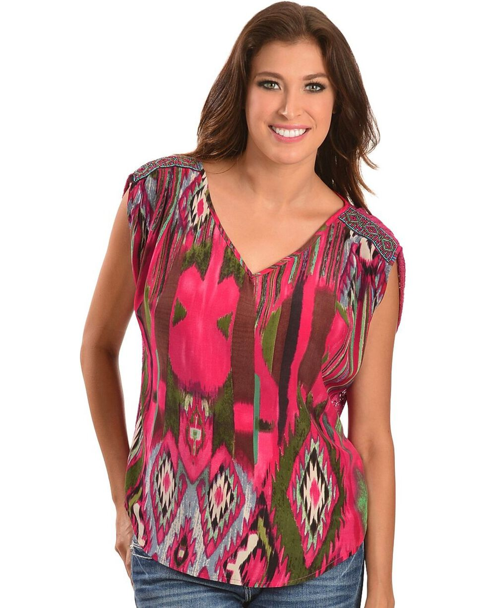 Miss Me Beaded Shoulder Crochet Back Woven Top, Fuchsia, hi-res