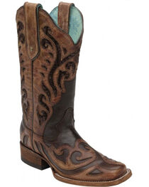 Corral Women's Chocolate Sequin Inlay Square Toe Boots, Chocolate, hi-res