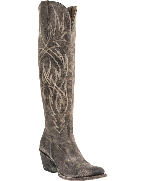 Lucchese Courtney Mad Dog Tall Boots - Round Toe, Grey, hi-res