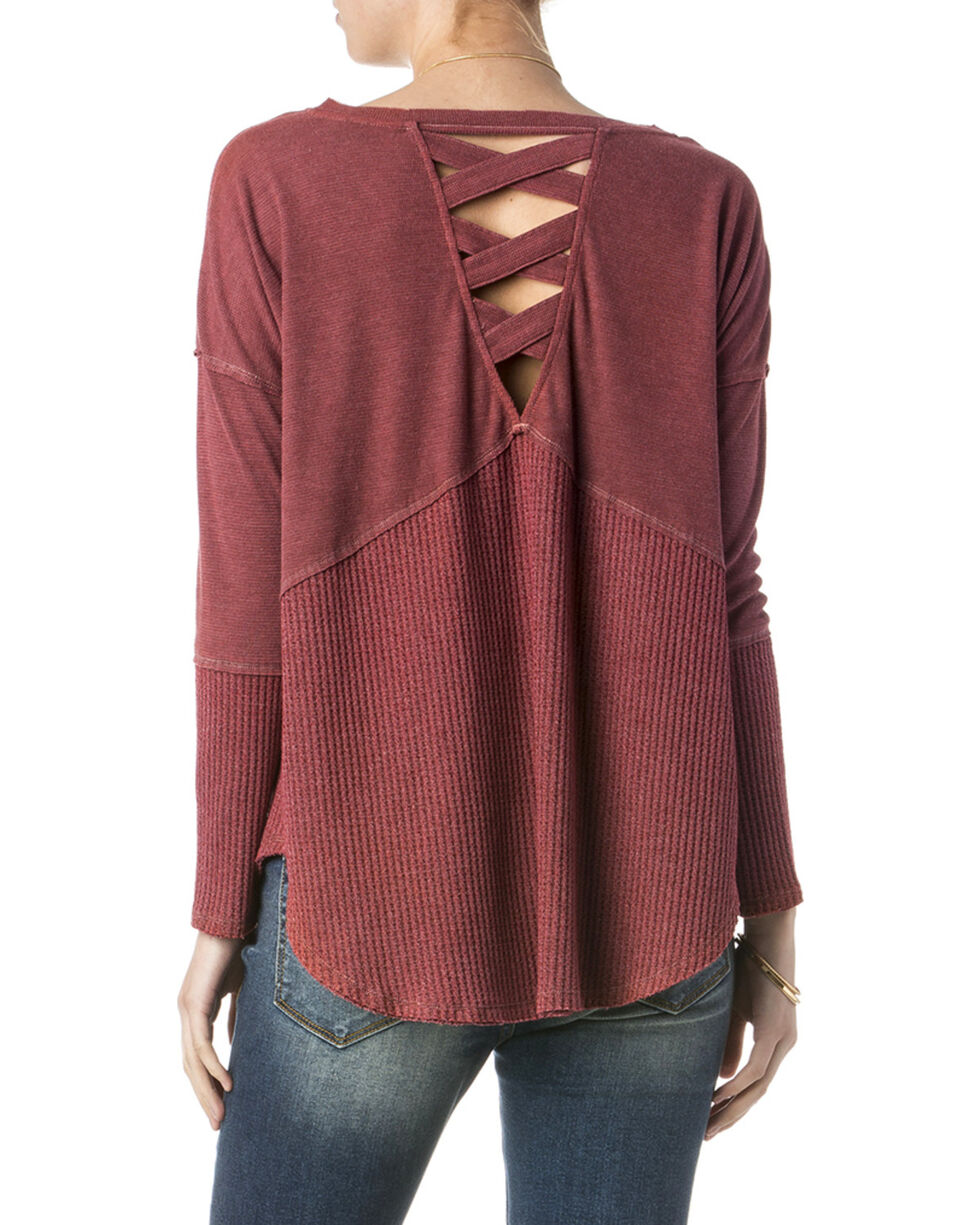 Miss Me Women's Red Lace Up Back Top , Red, hi-res