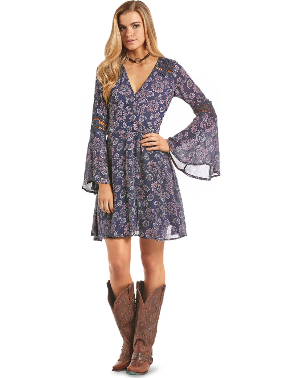 Rock & Roll Cowgirl Women's Swirl Floral Print A-Line Dress, , hi-res