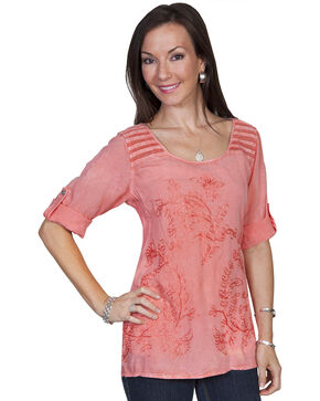 Scully Women's Half Sleeve Tonal Embroidered Blouse, Coral, hi-res