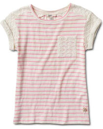 Silver Girls' Crochet Sleeve Stripe Top, , hi-res
