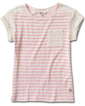 Silver Girls' Crochet Sleeve Stripe Top, Pink, hi-res
