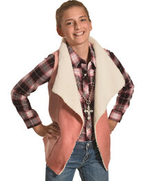 Derek Heart Girls' Pink Sherpa Collar Sweater Vest , , hi-res