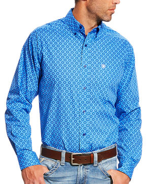 Ariat Men's Casual Series Marvel Fitted Blue Print Long Sleeve Button Down Shirt, Blue, hi-res