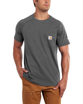 Carhartt Men's Force Cotton Short Sleeve Shirt - Big & Tall, Charcoal Grey, hi-res