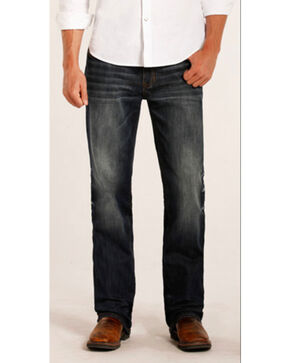 Rock & Roll Cowboy Men's Double Barrel Reflex Copper Stitch Straight Leg Jeans, Blue, hi-res