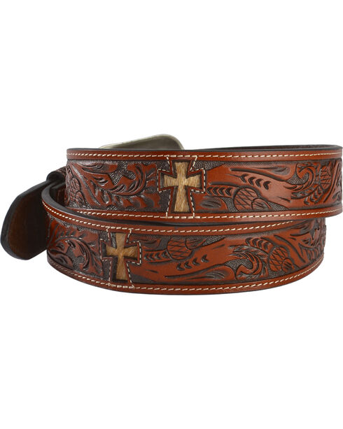 3D Hair-on-Hide Cross Inlay Tooled Leather Belt, Multi, hi-res