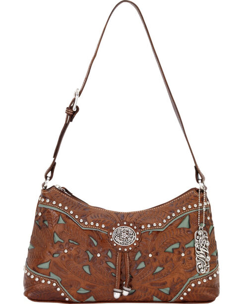 American West Women's Lady Lace Shoulder Bag, Brown, hi-res